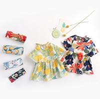 Baby mädchen kleidung prinzessin dress kurzarm volle blume drucken lolita kleid sommer mädchen koteling hohe qualität