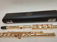 SUZUKI altın kaplama Flüt Profesyonel Oyma Çiçek Ağızlık E tuş flauta 17 Açık delik kapalı delik çift amaçla C Anahtarı Tasarımları