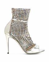 2019 super star sandales taille coustomized taille en cuir véritable luxe T show diamant sandale fashioin peep toe fille robe de soirée Chaussures