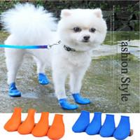 4pcs mascotas impermeable lluvia cachorro Botas zapatos del perro del día lluvioso antideslizante calza botas para la pequeña del perrito