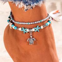 Böhmische Multi Layer Seestern Turtle Perlen Fußklets für Frauen Vintage Boho Shell Kette Fußkettchen Armband Strand Schmuck Sandalen Geschenk