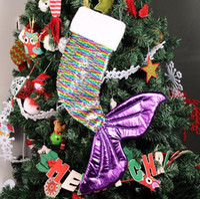 Русалка блестками Рождественский чулок Fishtail Санта-Клаус конфеты мешок подарков Держатели Xmas носки Party Главная Декоративные подарки Wrap LXL478-A