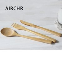 Airchr nuovo arrivo di bambù tavola 30pcs (10 Set) bambù naturale 100% Spoon Fork Knife Set da tavola di legno