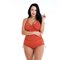 Pure colour conjoined sexy large- size fat woman swimsuit wit...