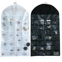 32 주머니 보석 주최자 매달려 보석 주최자 이중 양면 가방 투명 PVC 플라스틱 창 롤업 휴대용 반지 귀걸이 목걸이