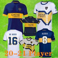 أعلى نسخة لاعب Boca Juniors Home Soccer Jerseys 20/21 Men About White White # 7 Pavon # 16 De Rossi Soccer Shirts Boca 2020
