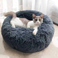hthomestore Mats mascotas redondo del perro del invierno del gato bolsa de dormir caliente largo felpa suave cama Admite calmantes Cama redonda cubierta almohada para dormir Perro