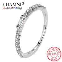 YHAMNI 925 solid Silver Rings Micro Pave rectângulo 2 * 4mm CZ Zircon Wedding Engagement Rings Fashion Brand Crystal Jewelry For Women YR390