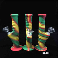 Rainbow 9. 5 Inch Mini Silicone Bongs Water Pipes Unbreakable...