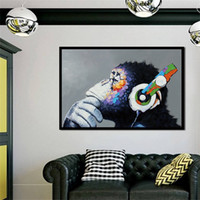 Headphone Music Monkey Wall Art Pictures for Living Room Hom...