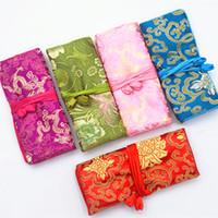 Duże torby na prezent sprzęgła do podróży biżuteria torba rolkowa Party favors chiński jedwab brokat 3 suwak na suwak biżuteria torebki 10 sztuk / lo