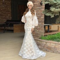 Muslim Mermaid Evening Dresses High Neck Long Sleeve Sweep Train Lace Formal Prom Party Gowns vestidos de noche Plus Size