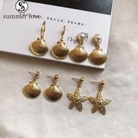 Haute qualité Starfish Conch Shell Cowary Big Circle Boucles d'oreilles pour les femmes plaqué or Imitation Perles Dangle Boucles d'oreilles Summer Beach Party-Y