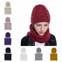Inverno Gorros Anel Scarf Set Chapéus Beanie chapéu lenço de malha de lã Casual aquecer Cap lenços para homens Mulheres LJJA3125