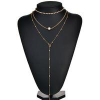 Boho joyería de múltiples capas perlas collares del ahogador de la manera pendiente de las mujeres atractivas Collier de la vendimia larga del collar N968