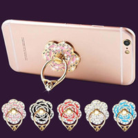 360 Derece Cep Telefonu Standı Tutucu Parmak Yüzük Ile Kristal Çiçek Elmas iPhone Huawei Smartphone Telefon Tutucu Standı