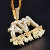Iced Out Addicted в деньги Подвеска Золото Серебро покрыло Micro Асфальтовая кубический циркон Mens Hip Hop подарка ювелирных изделий