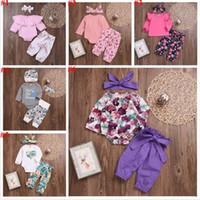 Vêtements bébé fille Lotus Boutique Fleurs Floral Tops Pantalons Imprimé Falbala Ruffle solides manches longues T-shirts Pantalons Bandeau Tenues A6025