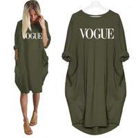 2019 New Fashion T- Shirt for Women VOGUE Letters Print Pocke...