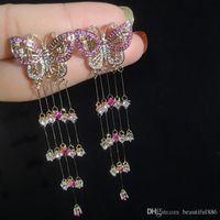 High Fashion Super Lange Quaste Rosa Schmetterling Ohrringe S925 Silber Nadel Ohrstecker Heiße Art Zirkon Baumeln Kronleuchter