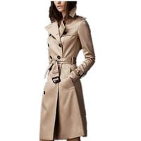 봄과 가을 새로운 여자 트렌치 코트 영국 스타일의 트렌드 패션 클래식 더블 브레스트 슬림 긴 단색 스포츠 용 재킷의 일종