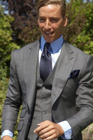 Summer Casual Grey Men Suits Tuxedos Masculino For Wedding 3...