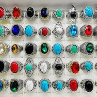 أزياء 30 أجزاء / وحدة الفيروز الفرقة خواتم مجوهرات حجم كبير الكريستال العتيقة الفضة حجر الطبيعي حلقة المرأة الرجال حزب هدية