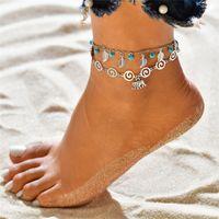 Feuille Tissage MultiLayer Chaînes de cheveu Coquille Eléphant Sirène Anklets Anklets Foot Bracelet Été Beach Femmes Bijoux de mode