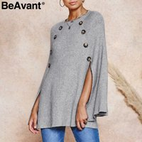 BeAvant O- neck knitted cloak women sweater Casual plus size ...