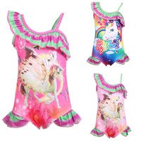 Children Swimwear baby girls rainbow Unicorn print swimsuit ...