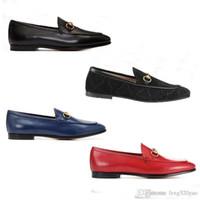 Designer Uomini piatto scarpe casual vacchetta autentica fibbia di lusso donne di velluto vestito di cuoio scarpe metallo Travolgere pigro dimensioni scarpe da barca 34-42-46