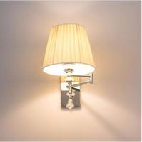 Luces de pared de aplique moderna Luminaria Lámpara de lectura de cabecera Lámpara de pared de brazo oscilante E27 Aplique de pared de cristal Luces de baño