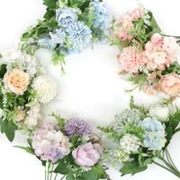 뜨거운 판매 혼합 된 꽃은 아름다운 차 DIY 신부의 웨딩 장식 홈 파티 장식 인공 꽃 수국 실크 가짜 꽃다발 장미