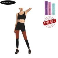 Yoga Outfits Aitonoble 2021 Damen Anzug Weste Top Lange Hosen Sportwear Trainingsanzug mit Gürtel Weiblichen Damen Fitness Overall Sport BH Set