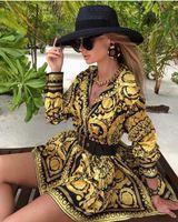 Nouveau mode Femmes Sexy Casual Shirt Robe Baissez manches longues imprimé chaîne design Mini robes Femme Vêtements P250
