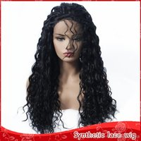 Natural Hairline Black Long Kinky Curly Wigs with Baby Hair ...