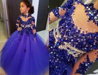 Amazing Royal Blue High Neck Girls Pageant Kleider Kristall Rhinestones Perlen Kleinkind Durchsichtig Kinder Säuglinge Erstkommunion Kleid