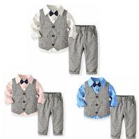 Kinder-Jungen-Kleidung Herren Kleinkind-Jungen-Weste-Hemd-Hosen 3pcs Satz-beiläufige Kind-Klagen Boutique Baby-Outfits Kinderkleidung DW4996
