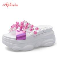 Aphixta 2020 neue Hausschuhe Frau Perle Bär Thick Sole Transparent Sommer Hausschuhe Wedges Slides Platform Schuhe Schuh-Frauen