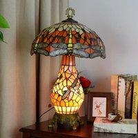 Tiffany libélula manchada de vidro sala de estar quarto hotel lâmpada e27 criativo estilo pastoral lâmpadas de mesa tf030