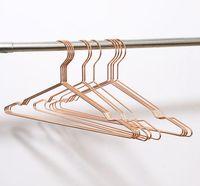 бесплатная доставка оптовых дешевые Металлическая проволока костюм одежда брюки юбка платье рубашка плечиков Розовое золото медный провод вешалка для одежды SN548