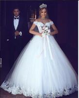 2019 빈티지 레이스 Appliqued A 라인 웨딩 드레스 럭셔리 오프 숄더 저렴한 공주 플러스 사이즈 신부 가운 BM0977