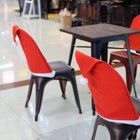 Chaise de Noël Couverture Santa Clause Red Hat Chair Retour Housses Couvertures Capuchon de chaise pour Christmas Noël Décorations de fête à la maison Nouveau EEE13