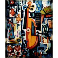 Abstracte kunst souza cardoso olieverfschilderij moderne geboorte van altviool bom menage handgeschilderde home decor