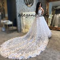 Suudi Arapça Gelinlik 3D Çiçek Kelebek Kabarık Beyaz Saf Lace Up Katedral Tren Vestido De Noiva Casamento Gelinlik Gelinlik