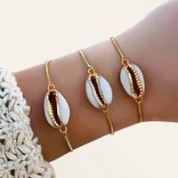 Nuovo stile di moda all'ingrosso colore oro genuino braccialetto di conchiglie cowrie in regolabile alla moda 1 Pz Bracciale a catena per le donne