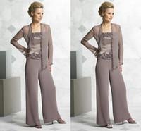Мода шифон мать невесты брючный костюм Три пьесы аппликация Матери Pant Suit официально мантии вечера