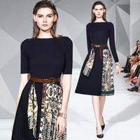 Kalite Siyah Örme Tasarımcı Elbise Kadınlar Uzun Kollu Mürettebat Boyun Kasetli Kontrast Renk Bayanlar Pist Elbise Şık Ofis Pileli Elbise