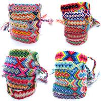 Bohemian Cotton Vintage Mão Tecidos Corda estilo étnico algodão Amizade colorida pulseira atada pulseira / tornozeleira
