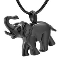 الشكل LKJ9743 اللون الأسود الفيل مع المسمار عقد رماد الذكرى جرة المنجد الحيوانات الأليفة الحرق مجوهرات للرماد الحيوانات التذكار